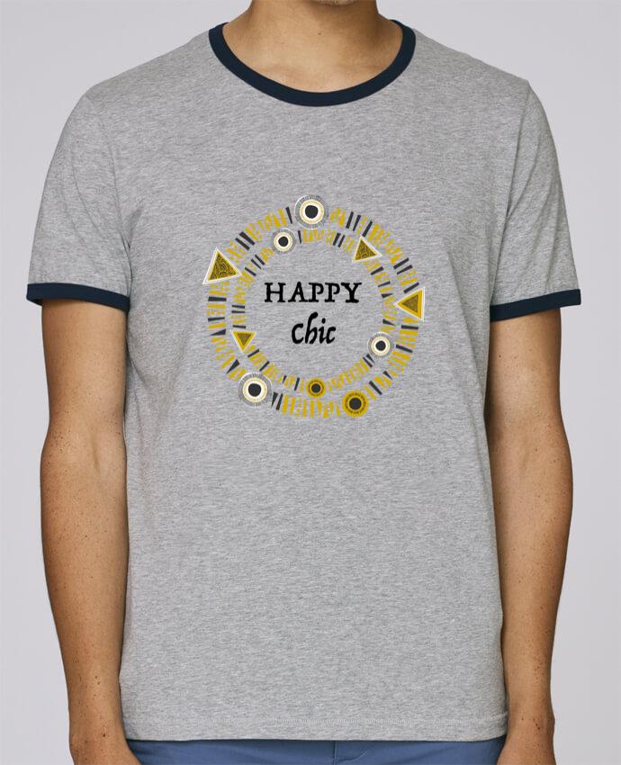 Camiseta Bordes Contrastados Hombre Stanley Holds Happy Chic pour femme por LF Design