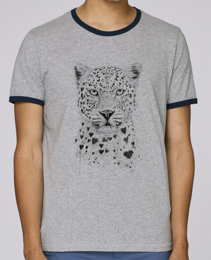 Camiseta Bordes Contrastados Hombre Stanley Holds lovely_leopord pour femme por Balàzs Solti