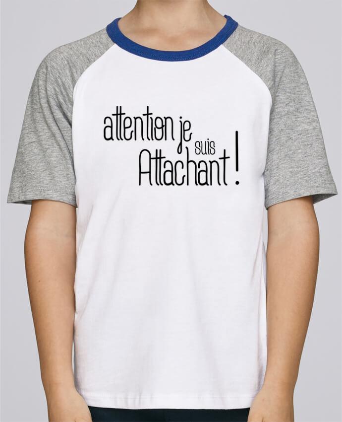 Camiseta de manga ranglan corta en contraste Stanley Mini Jump Short Sleeve Attention je suis attachant ! por tunetoo