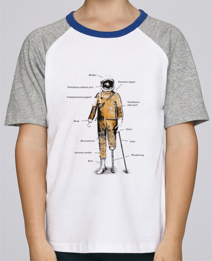 Camiseta de manga ranglan corta en contraste Stanley Mini Jump Short Sleeve Astropirate with text por Florent Bodart