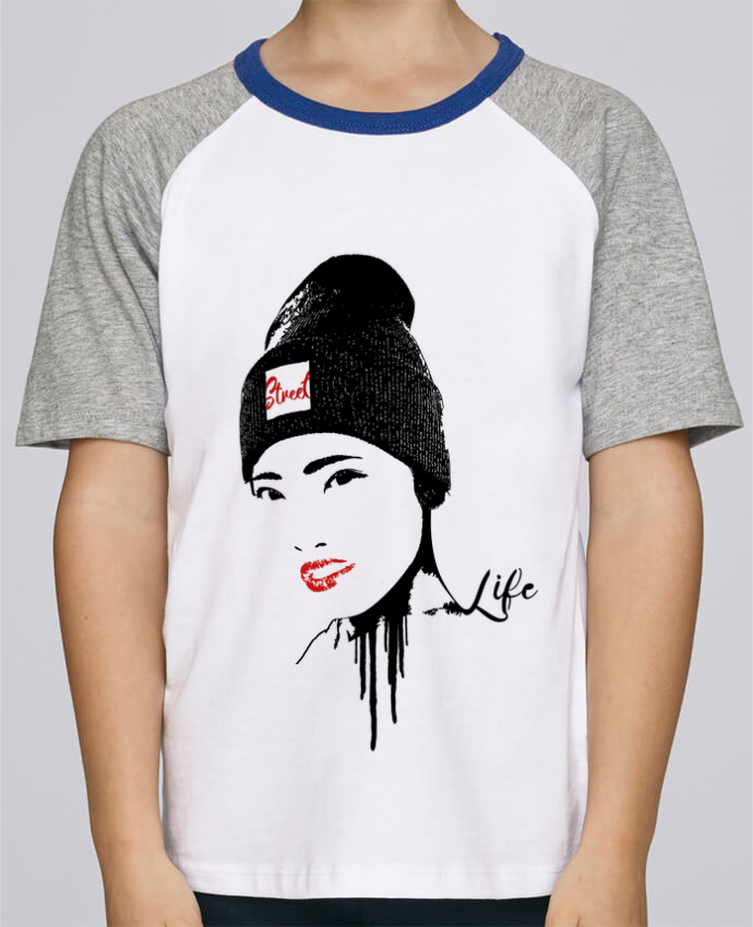 Camiseta de manga ranglan corta en contraste Stanley Mini Jump Short Sleeve Geisha por Graff4Art