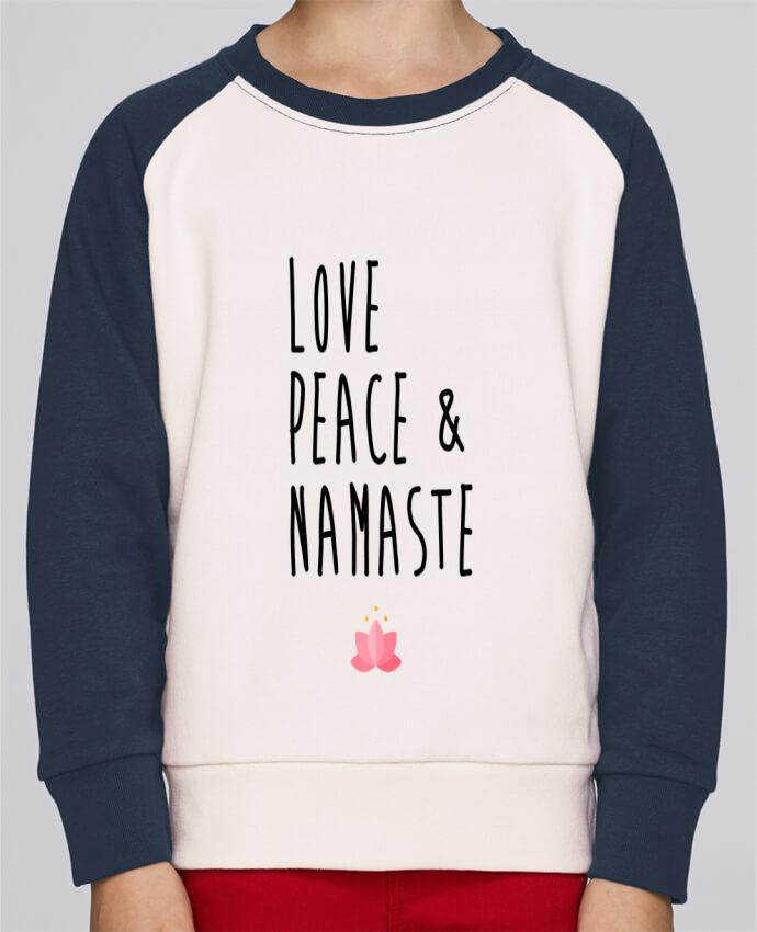 Sudadera Cuello Redondo Manga en Contraste Niño Mini Scouts Contraste Love, Peace & Namaste por tunetoo