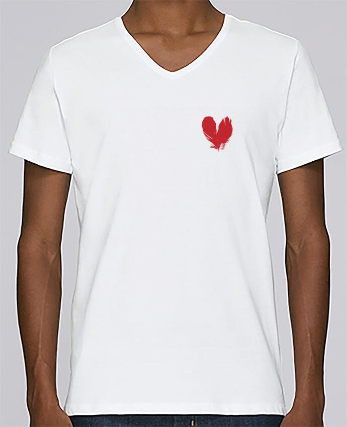 Camiseta Hombre Cuello en V Stanley Relaxes coeur de plumes por Studiolupi