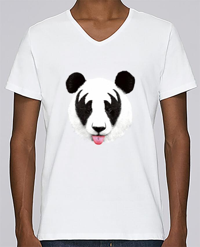Camiseta Hombre Cuello en V Stanley Relaxes Kiss of a panda por robertfarkas