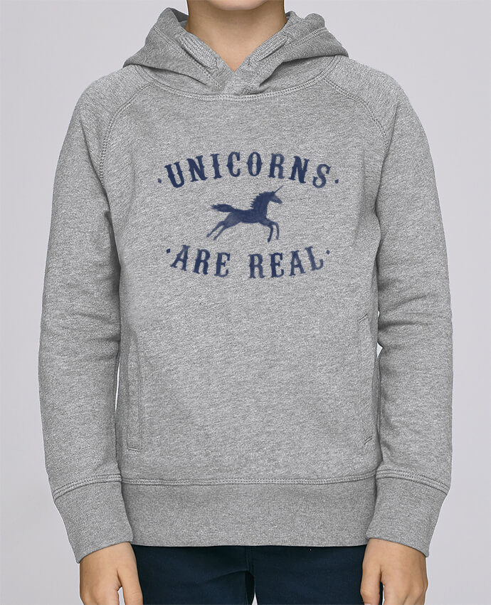 Sudadera de manga ranglan con capucha y bolsillo con vivo Niño Stanley Mini Base Unicorns are real por Florent Bodart