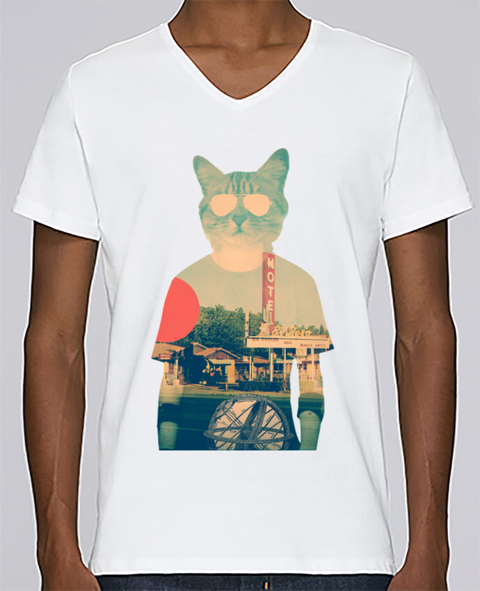 Camiseta Hombre Cuello en V Stanley Relaxes Cool cat por ali_gulec