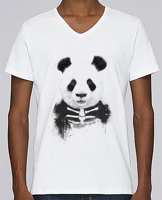 Camiseta Hombre Cuello en V Stanley Relaxes Zombie Panda por Balàzs Solti