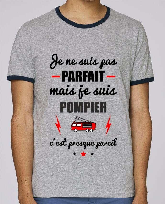 Camiseta Bordes Contrastados Hombre Stanley Holds Je ne suis pas porfait mais je suis pompier c'est presque poreil pour femme por Benichan