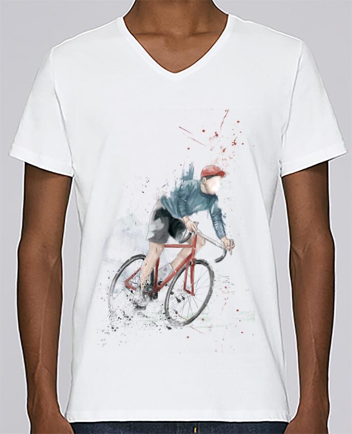 Camiseta Hombre Cuello en V Stanley Relaxes I want to Ride por Balàzs Solti