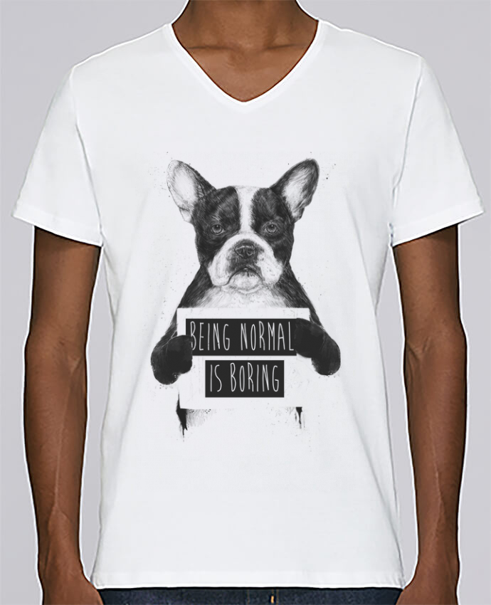 Camiseta Hombre Cuello en V Stanley Relaxes Being normal is boring por Balàzs Solti