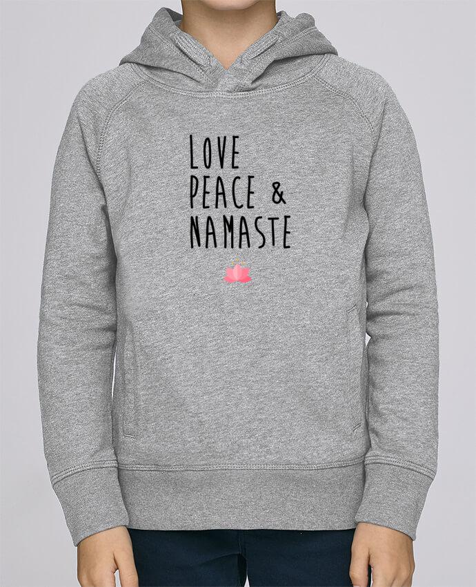 Sudadera de manga ranglán con capucha y bolsillo con vivo Niño Stanley Mini Base Love, Peace & Namaste por tunetoo