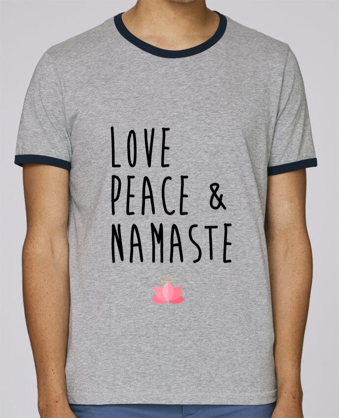 Camiseta Bordes Contrastados Hombre Stanley Holds Love, Peace & Namaste pour femme por tunetoo