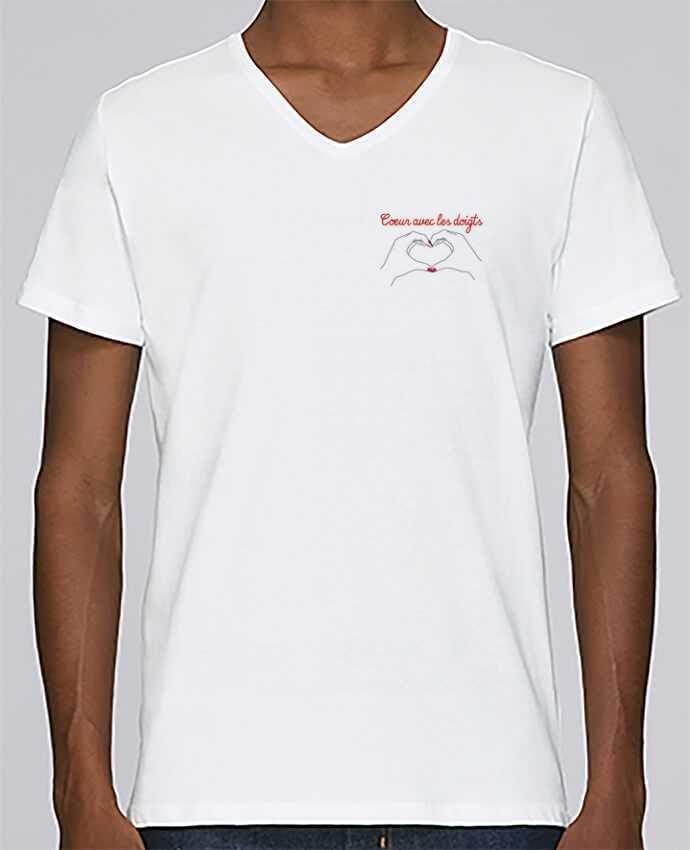 Camiseta Hombre Cuello en V Stanley Relaxes Coeur avec les doigts por WBang