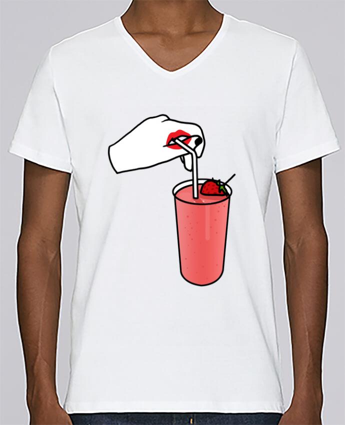 Camiseta Hombre Cuello en V Stanley Relaxes Milk shake por tattooanshort