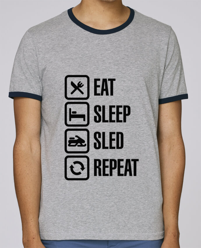Camiseta Bordes Contrastados Hombre Stanley Holds Eat, sleep, sled, repeat pour femme por LaundryFactory
