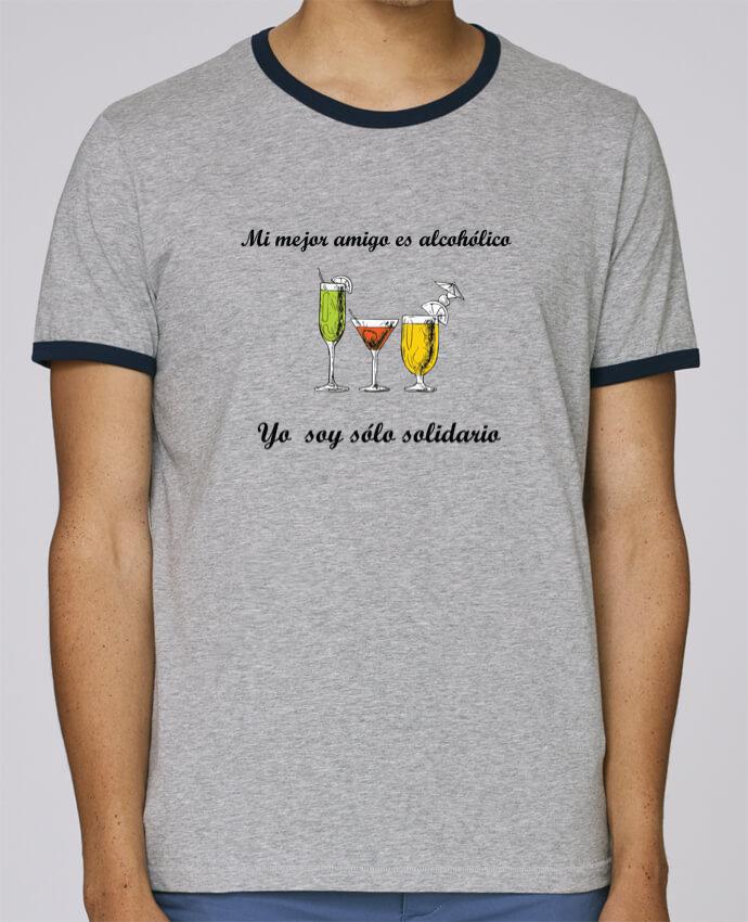 Camiseta Bordes Contrastados Hombre Stanley Holds Mi mejor amigo es alcohólico, yo soy sólo solidario pour femme por tunetoo