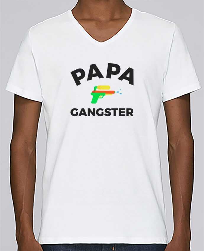 Camiseta Hombre Cuello en V Stanley Relaxes Papa Ganster por Ruuud