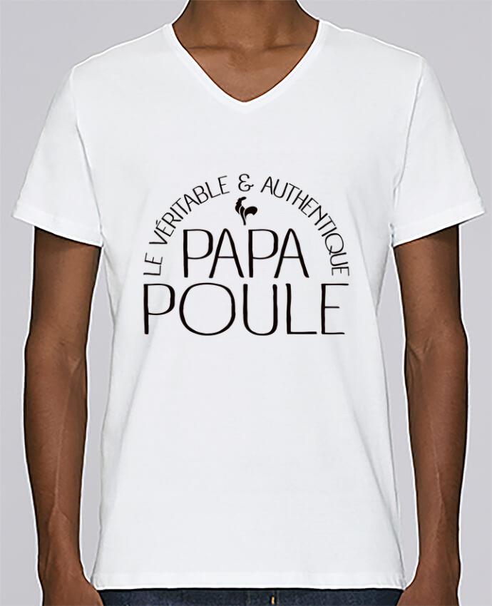 Camiseta Hombre Cuello en V Stanley Relaxes Papa Poule por Freeyourshirt.com