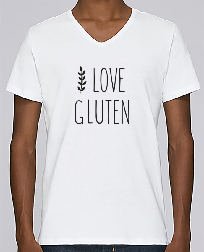 Camiseta Hombre Cuello en V Stanley Relaxes I love gluten by Ruuud por Ruuud
