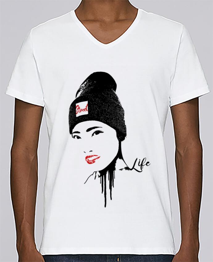 Camiseta Hombre Cuello en V Stanley Relaxes Geisha por Graff4Art