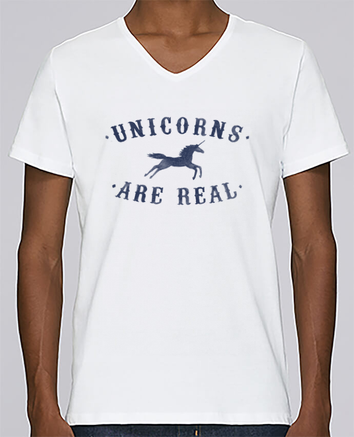 Camiseta Hombre Cuello en V Stanley Relaxes Unicorns are real por Florent Bodart