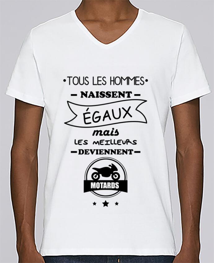 Camiseta Hombre Cuello en V Stanley Relaxes Tous les hommes ... les meilleurs deviennent motard, moto por Benichan