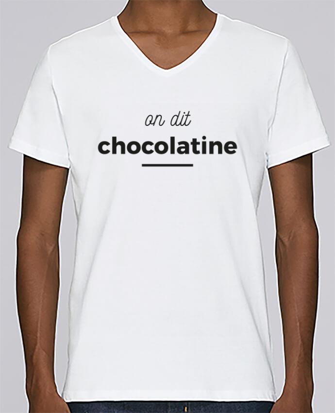 Camiseta Hombre Cuello en V Stanley Relaxes On dit chocolatine por Ruuud