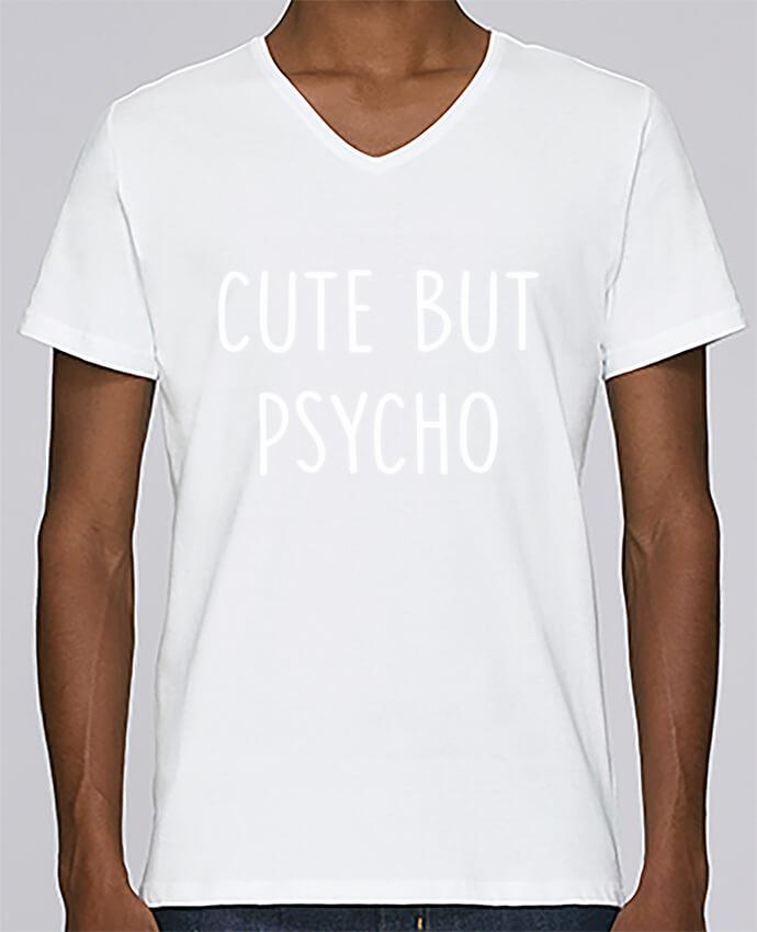 Camiseta Hombre Cuello en V Stanley Relaxes Cute but psycho por Bichette