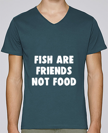 Camiseta Hombre Cuello en V Stanley Relaxes Fish are firends not food por Bichette