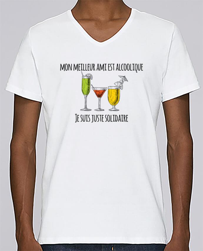 Camiseta Hombre Cuello en V Stanley Relaxes Mon meilleur ami est alcoolique et je suis juste solidaire por tunetoo