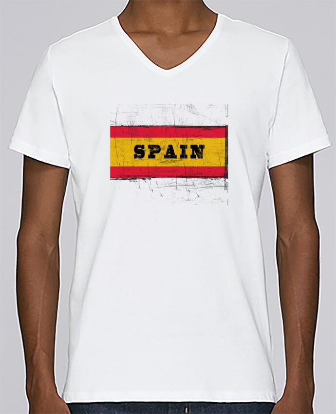 Camiseta Hombre Cuello en V Stanley Relaxes Drapeau espagnol por Les Caprices de Filles