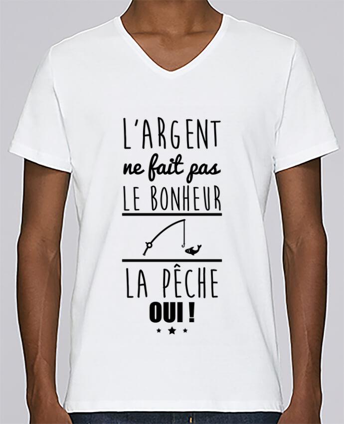 Camiseta Hombre Cuello en V Stanley Relaxes L'argent ne fait pas le bonheur la pêche oui ! por Benichan