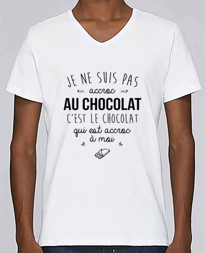 Camiseta Hombre Cuello en V Stanley Relaxes choco addict por DesignMe