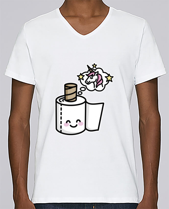 Camiseta Hombre Cuello en V Stanley Relaxes Unicorn Toilet Paper por LaundryFactory