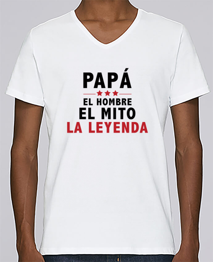 Camiseta Hombre Cuello en V Stanley Relaxes PAPÁ : EL HOMBRE EL MITO LA LEYENDA por tunetoo