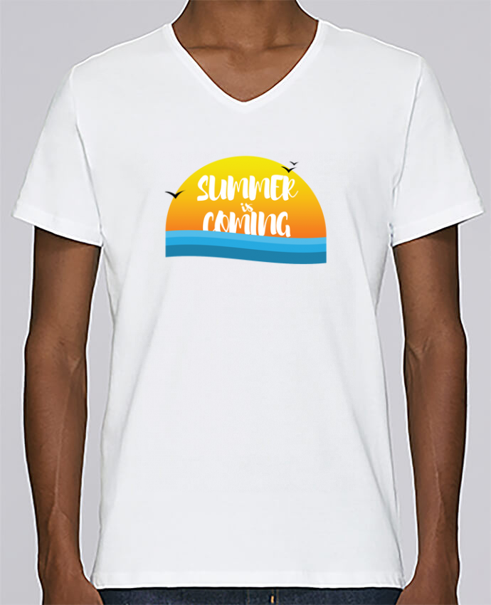 Camiseta Hombre Cuello en V Stanley Relaxes Summer is coming por tunetoo