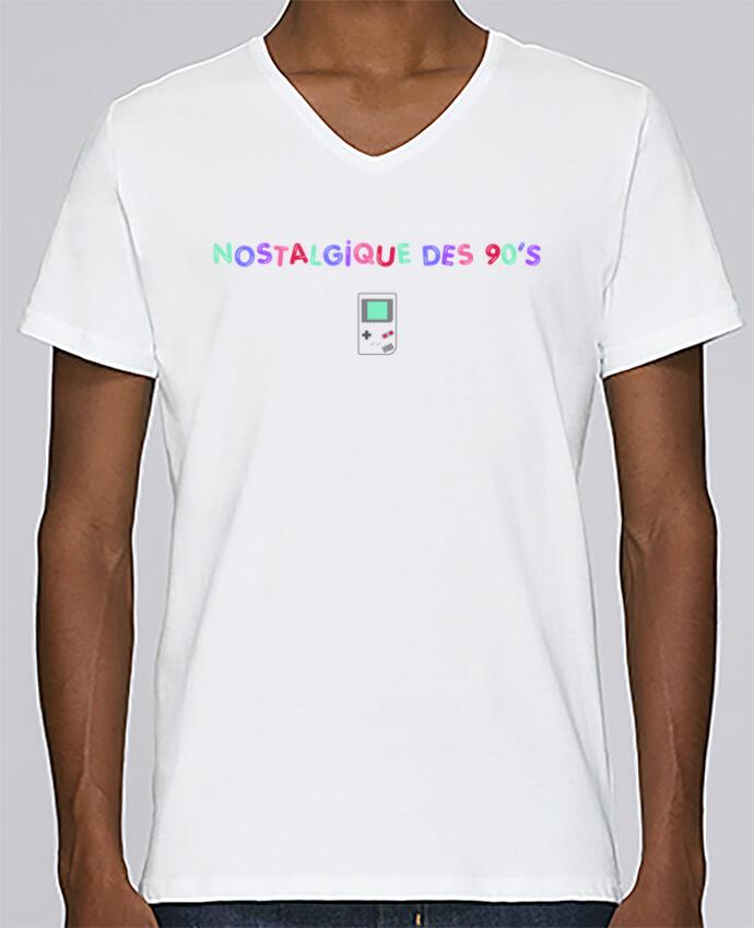 Camiseta Hombre Cuello en V Stanley Relaxes Nostalgique 90s Gameboy por tunetoo