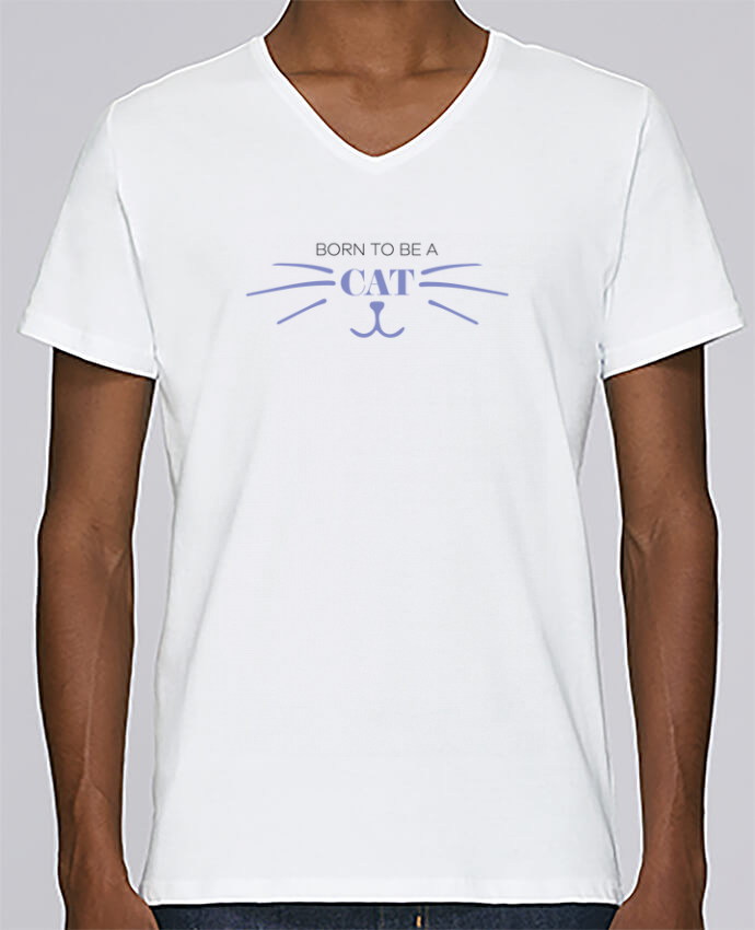 Camiseta Hombre Cuello en V Stanley Relaxes Born to be a cat por tunetoo