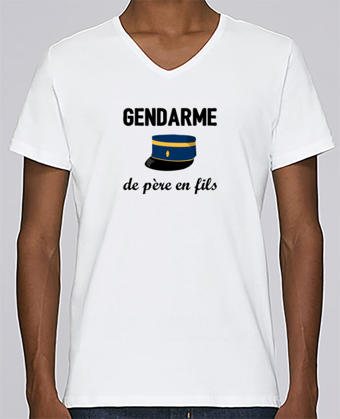 Camiseta Hombre Cuello en V Stanley Relaxes Gendarme de père en fils por tunetoo