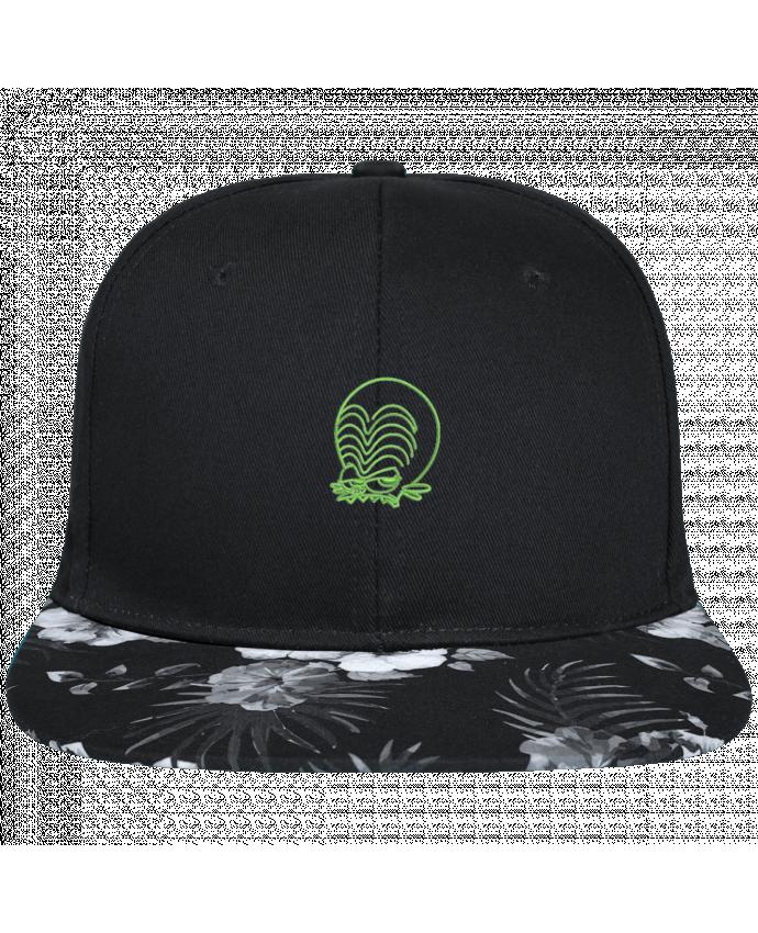 Gorra Snapback Visera Flor Hawai Zinzin de l'espace brodé brodé avec toile noire 100% coton et visière impri