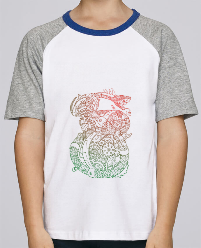 Camiseta de manga ranglan corta en contraste Stanley Mini Jump Short Sleeve Méca Serpent por Tomi Ax