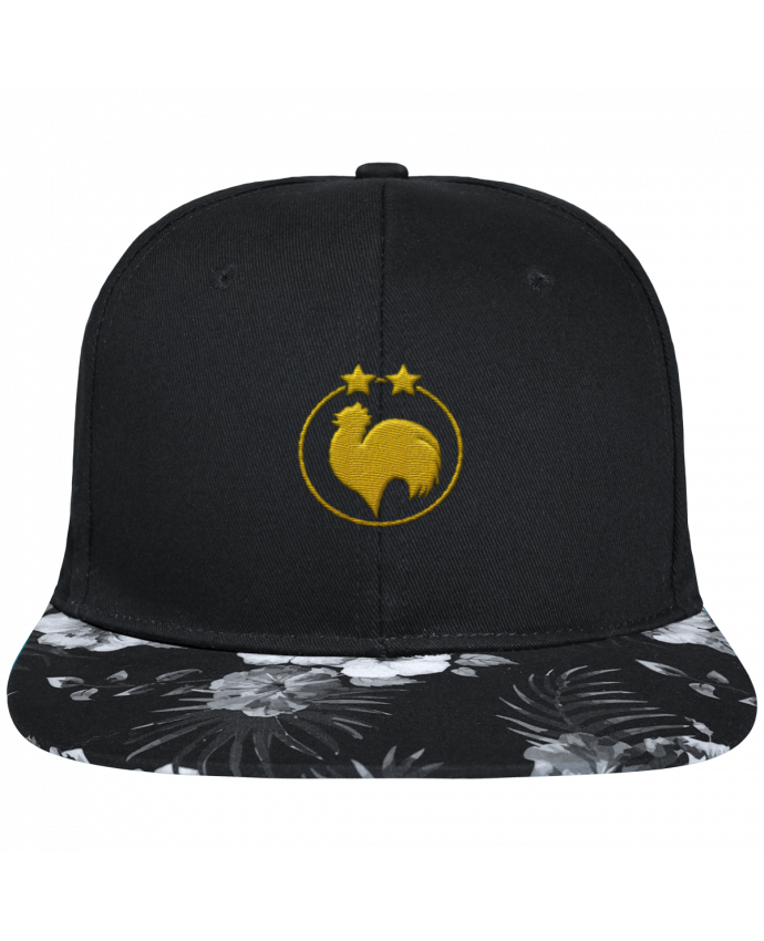 Gorra Snapback Visera Flor Hawai Champion 2 étoiles brodé brodé avec toile noire 100% coton et visière imprim