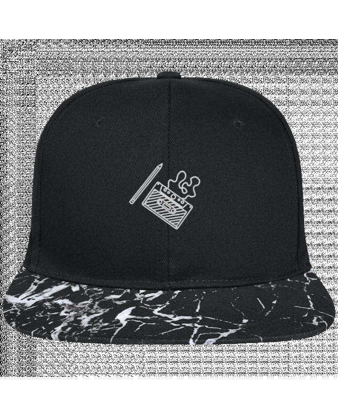 Gorra Snapback Visera Mineral negro Cassette brodé brodé avec toile noire 100% coton et visière imprimée