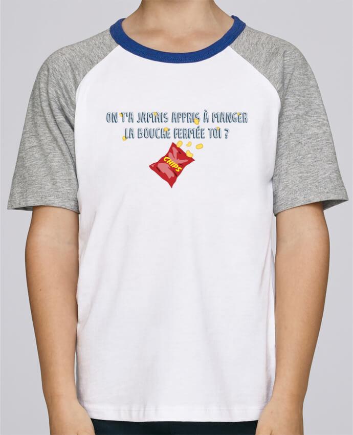 Camiseta de manga ranglan corta en contraste Stanley Mini Jump Short Sleeve Manger la bouche fermée Citation Dikkenek por tunetoo