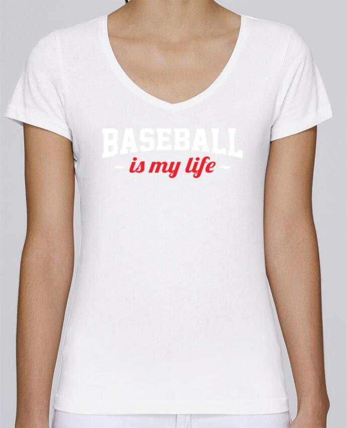 Camiseta Mujer Cuello en V Stella Chooses Baseball is my life por Original t-shirt