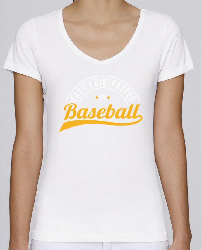 Camiseta Mujer Cuello en V Stella Chooses Distracted by Baseball por Original t-shirt