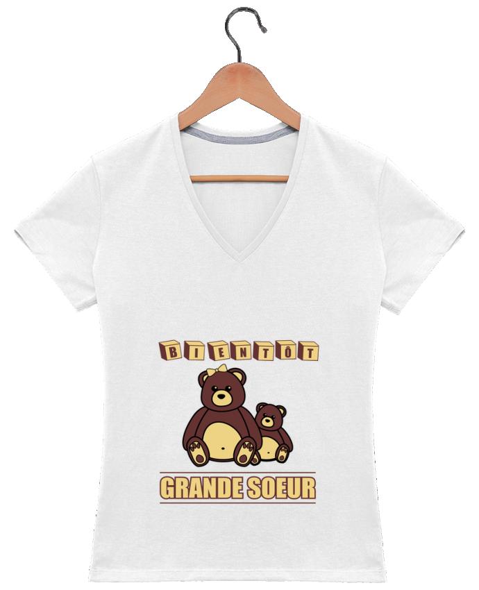 Camiseta Mujer Cuello en V Bientôt Grande Soeur por Benichan