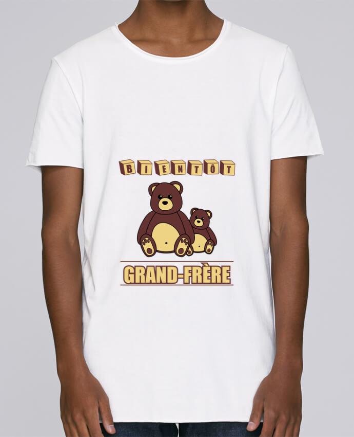 Camiseta Hombre Tallas Grandes Stanly Skates Bientôt Grand-Frère avec ours en peluche mignon por Benichan