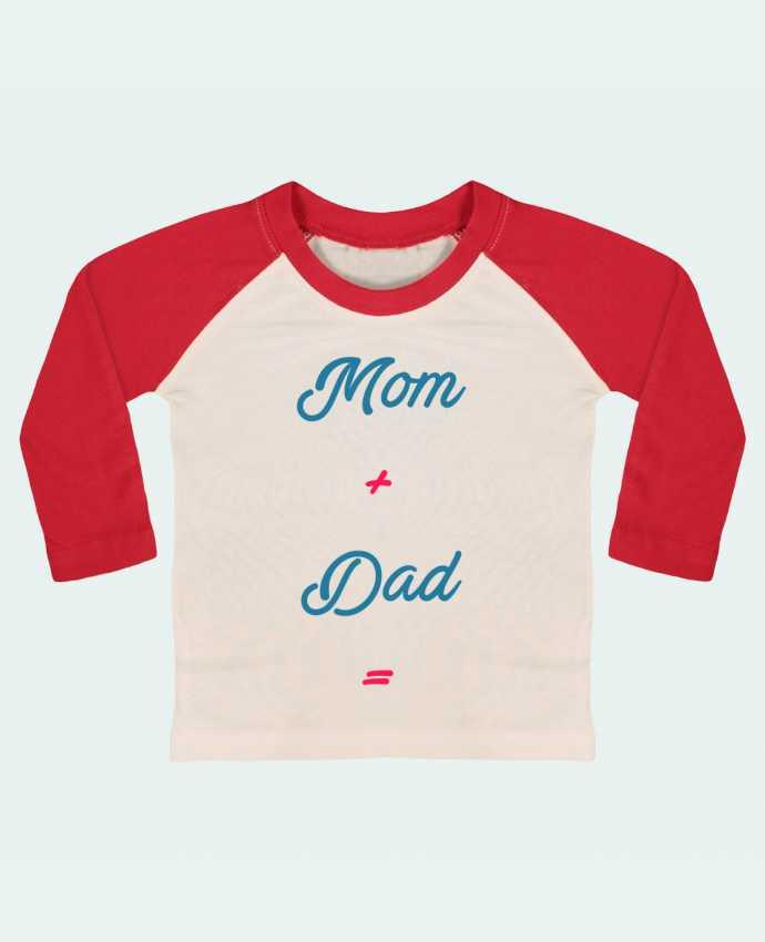 Camiseta Bebé Béisbol Manga Larga Mom + dad = por tunetoo