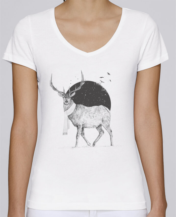 Camiseta Mujer Cuello en V Stella Chooses Winter is all around por Balàzs Solti